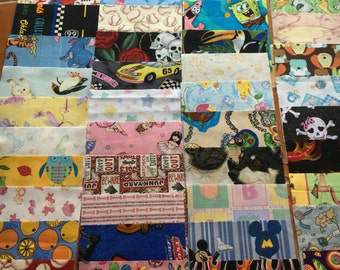 100 6 inch quilt squares BOYS and GIRLS  - Great for I Spy or rag quilt kit / Charm pack / cotton / novelty (LOT E)