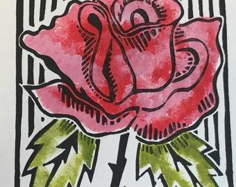 Pink Blushed Rose, Block Print