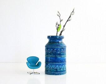 Mid Century Modern Bitossi Vase / Vintage Rimini Blu Vase by Aldo Londi for Bitossi / Mid Century Rimini Blue Bitossi Vase
