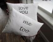 Love Pillow, Wedding Gift, Anniversary Gift, Valentine Love Gift, Accent Pillow,  Appliqued Pillow, 100% Cotton White Denim Pillow