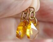 Swarovski Crystal Light Topaz Octogon Earrings