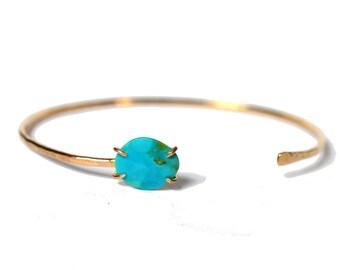 Gold Turquoise Cuff Bracelet, Skinny Turquoise Bangle