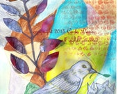 Abstract Whimsical Mother Bird with Nest Giclee Print from original watercolor and collage