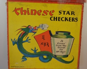 sale Vintage CHINESE STAR CHECKERS Chinese Checkers game board 1938 wall decoration