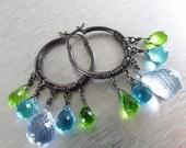 BIGGEST SALE EVER Blue Topaz Gemstone Hoop Earrings