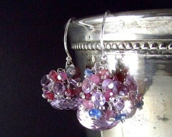 25% Off Summer Sale Pink Amethyst and Sapphire Sterling Silver Earrings.