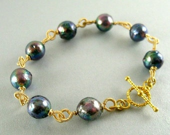 25% Off Summer Sale Grey Pearl and Gold Filled Wire Wrapped Bracelet