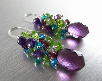 25% Off Summer Sale Colorful Gemstone Earrings - Peridot, Amethyst, Garnet and Quartz With Sterling Silver