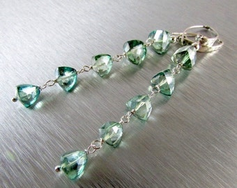 BIGGEST SALE EVER Long Mystic Green Quartz and Sterling Earrings