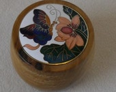Myrtlewood box with cloisonne lid