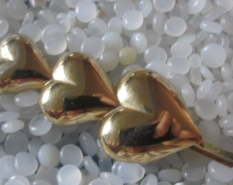 vintage barrette brass hearts, 3 hearts
