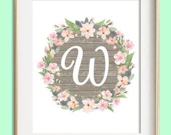 Letter W Printable, Instant Download, Baby Girl Nursery Wall Art, Girl Nursery Decor, Floral Monogram, Pink Mint Gray Letter Art, Baby Gift