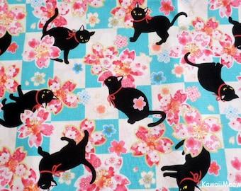 Beautiful Kimono Fabric - Black Cat Sakura on Blue - Half Yard (i160610)