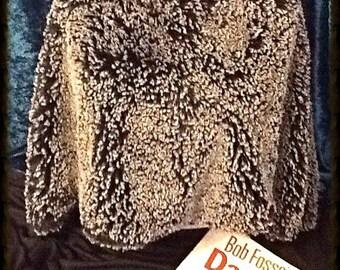 Black/White Frosted Faux Fur A-Symmetric Poncho