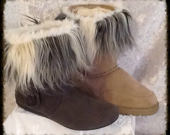 Island Raccoon Boot Cuffs Lined with Fleece