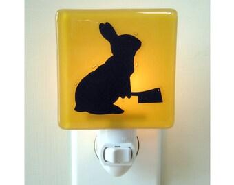 Bunny Night Light - Rabbit Gift - Funny Nightlight - Hand Painted Glass