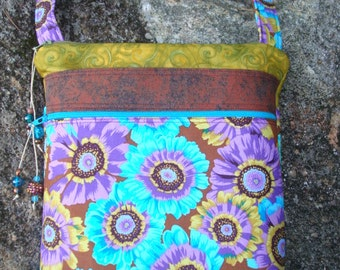 Brown and Blue Floral Cross Body Bag Purse