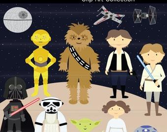 Space Wars , Star wars Digital Clip art  Instant Download