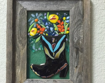 Cowboy Boot Flowers Fused Glass Rustic cowgirl Western Wall Art Framed Plaque Barnwood Texas Bluebonnet Wildflowers is
