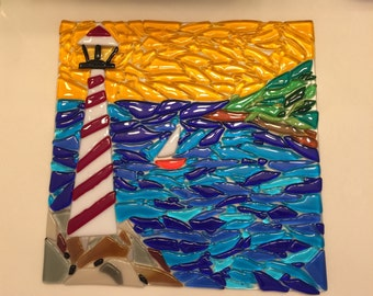 Fused glass seascape lighthouse sailboat wall art hanging beach decor plaque plate beach d