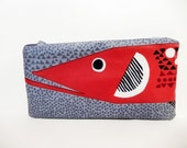 Marimekko Pouch, Hauki Fish Pouch,Medium Zipper Pouch, Fish Pencil Case, Cute Pencil Case, Marimekko Pencil Pouch, Red Fish