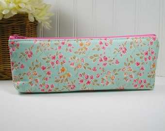 Long Zipper Pouch, Long Zipper Pouch, Long Pencil Case, Pencil Pouch.. Chatsworth Bloom in Mint