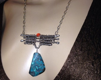 Turquoise and Carnelian Necklace silver Branches weaved hammered-Wild Branches-Handmade-metalsmith