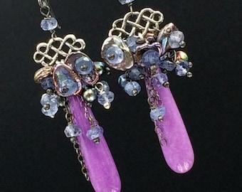 Lavender Plum Colorful Long Dangle Earrings Linear Earrings Phosphosiderite, Peacock Pearls Iolite Clusters Mixed Metal Long Earrings