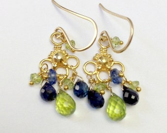BLACK FRIDAY SALE Blue Green Earrings Peridot Earrings Kyanite Gemstone Gold Chandelier Petite Wire Wrap Earrings Minimalist Earrings August