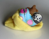 Sloth in pajamas with Teddy bear and fleece snuggle bag miniature felt stuffed animal with hand painted face  bendable rain forest animal