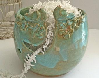 Two Birds yarn bowl - knitting bowl - stoneware