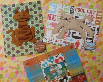 Set of Three Cat Lovers Handmade Blank Cards