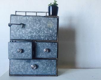 Vintage industrial metal bin or cabinet bathroom desk accessory RARE