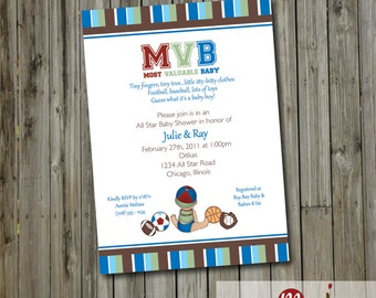 PRINTABLE INVITATION: MVB Most Valuable Baby Sports Baby Shower