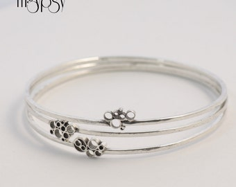 SALE Stacking Bangles Set in Sterling Silver Bubbly Bangles