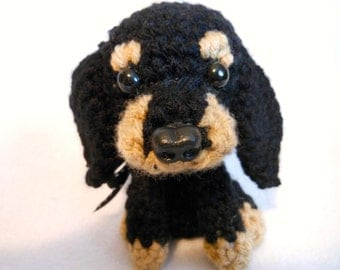 Coonhound Crochet Dog,Black and Tan Coonhound, Amigurumi, Canine, Stuffed Dog, Purebred, Small Dog, Sporting Breed, Hound Dog