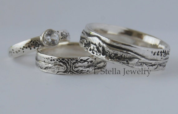 wedding band set 14k gold tree mountain engagement ring