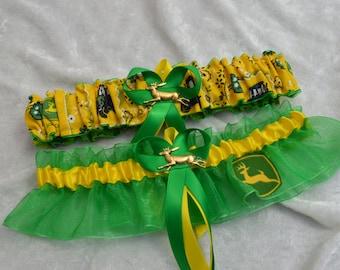 Handmade wedding garters keepsake and toss JOHN DEERE wedding garter set