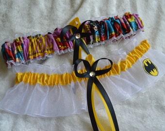 Handmade wedding garters keepsake and toss BATGIRL wedding garter set
