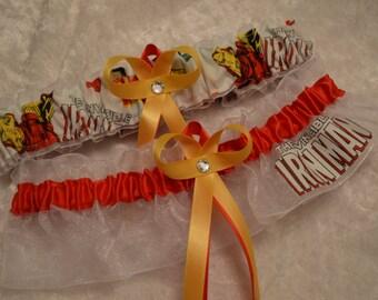 Handmade wedding garters keepsake and toss IRONMAN Super Hero wedding garter set