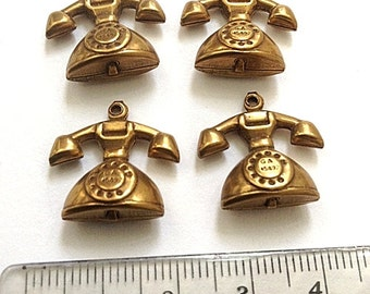 Vintage brass telephone retro phone stamping