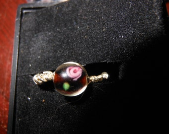 Wire Work Ring with Flower Bead Size 5 1/2 Hand Made