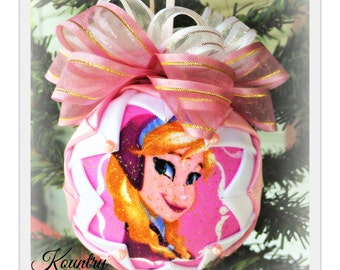 HANDMADE QUILTED Ornament/Princess ORNAMENT Made from Fabric/ Childs Ornament, (Ready to Ship)