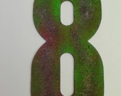 Lucky Number 8 with green paint 1/4 inch rubber