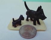 Vintage Plastic SCOTTIE DOG Puppy on stand Miniature Sweet Scottish Terrier Japan Scottie