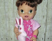 Corolle Tidoo Or Calin Doll Clothes  Baby Alive All Gone Doll Clothes  12 or 13 inch Doll Clothes Bunny Pajamas with stuffed bunny Set