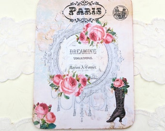 French Note Cards ,Blank Note Cards , Paris Dreaming ,Vintage Retro Boot ,Birthday ,Thank You ,Paris Bridal Shower Tea Party  , Australia