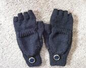 Women's Knitted Black Fingerless Convertible Mittens Small