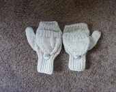 Knitted Kids Ecru Convertible Fingerless Mittens  6 year old
