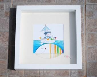 "Framed Mini Print ""Friends""- 9"" x 9"" white frame"
